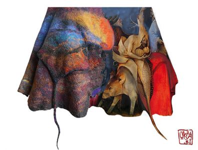 Felt Art By Kira Outembetova. ` Boschanalia ` Sleeveless Jacket, Detail.