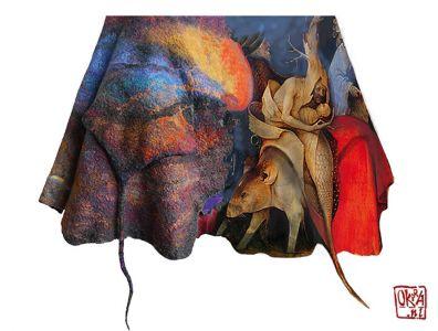 Felt Art By Kira Outembetova. ` Boschanalia ` Sleeveless Jacket, Detail.