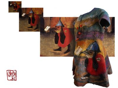 Felt Art By Kira Outembetova. ` Boschanalia ` Sleeveless Jacket, Front.