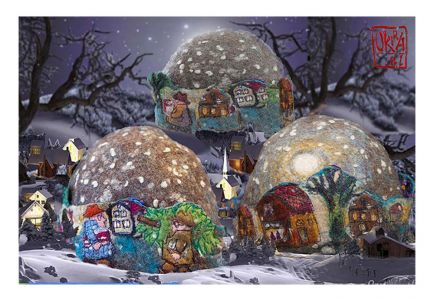 Felt Art By Kira Outembetova. ` Christmas Eve ` Hat