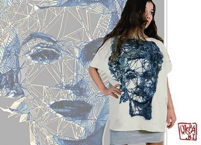 Felt Art By Kira Outembetova. ` Pattern Portrait ` Tunic