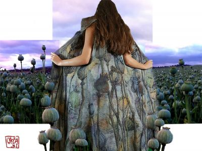 Felt Art By Kira Outembetova. ` Poppy Pods ` Long Sleeveless Vest, Back.