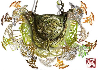 Felt Art By Kira Outembetova. ` Queen Anne\'s Lace ` Bag