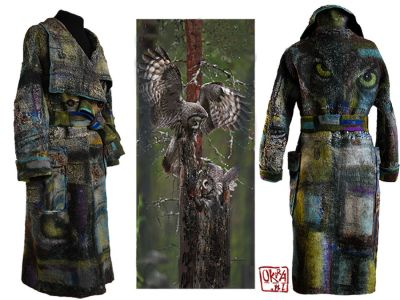 Felt Art By Kira Outembetova. ` Three Eyed Owl ` Coat.