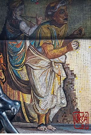 Trompe L`oeil Mural  ` Roman Empire. Itali `  By Kira Outembetova. Fragment Pompeii