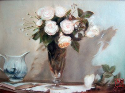 Pastel Still Life With Flowers By Kira Outembetova